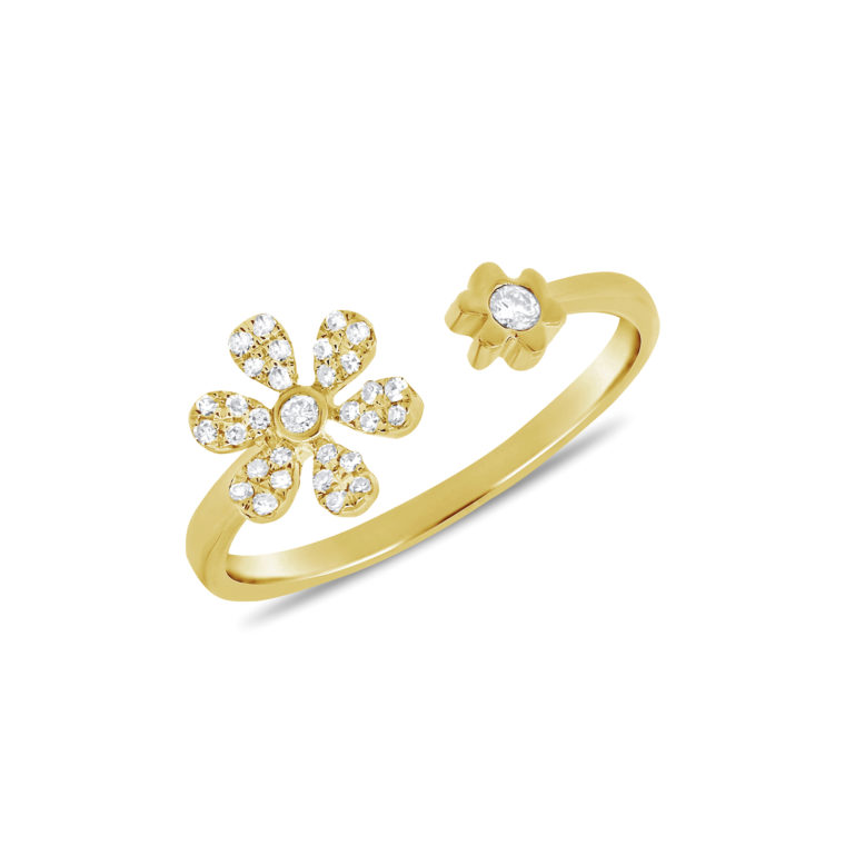 Diamond Daisy Petal Ring in 14k Yellow Gold
