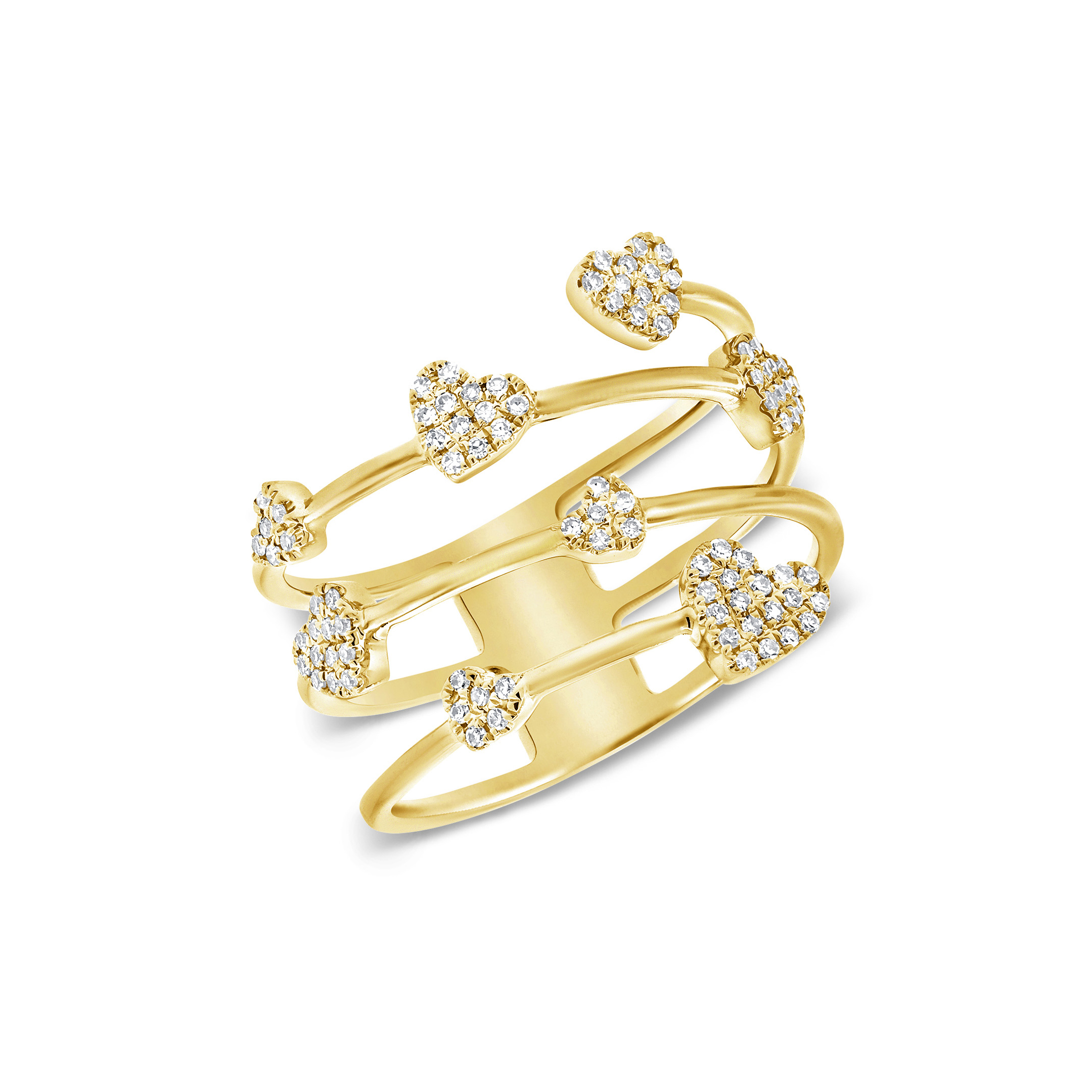 floating hearts ring - diamonds & yellow gold