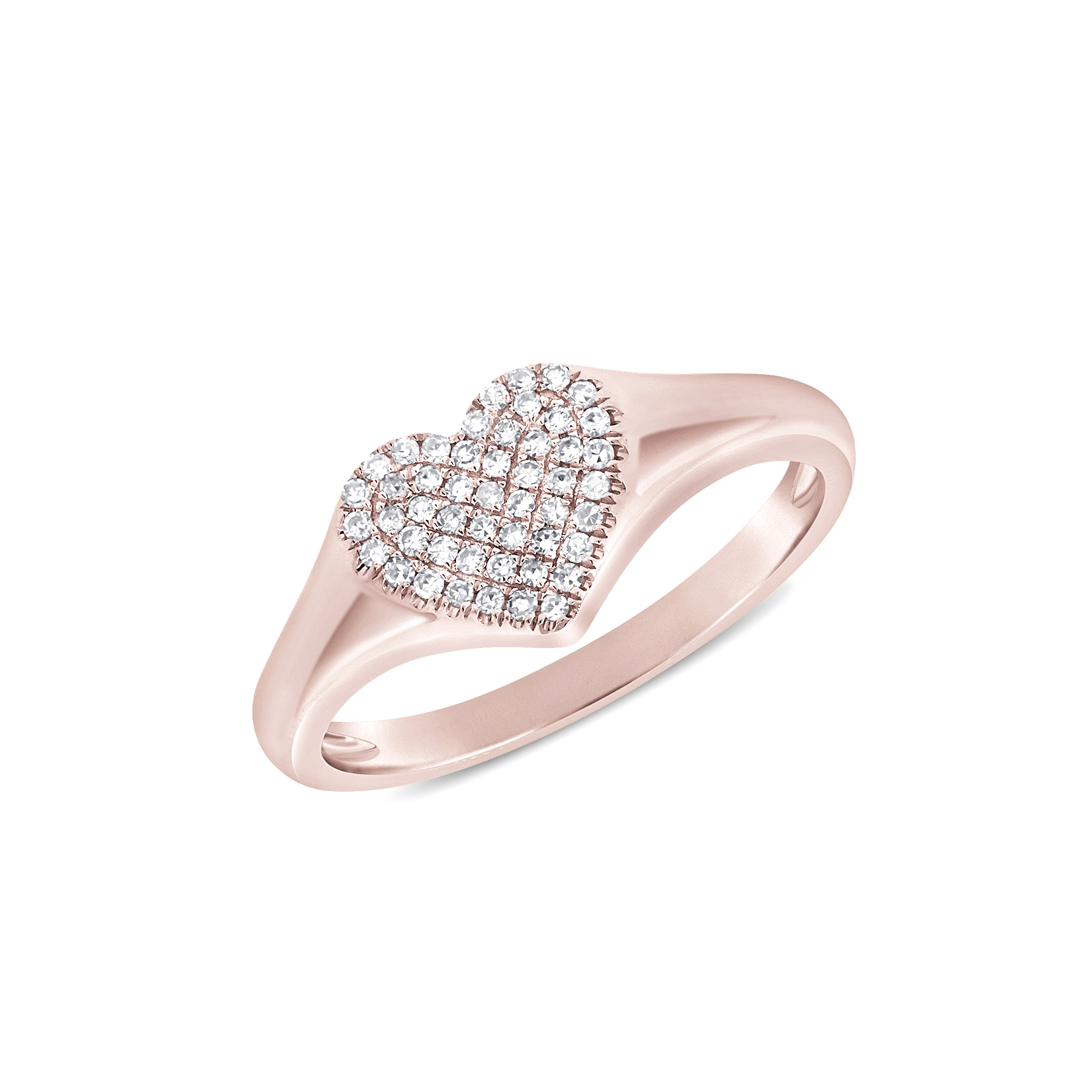 heart shaped pave diamond center band in 14 karat pink gold