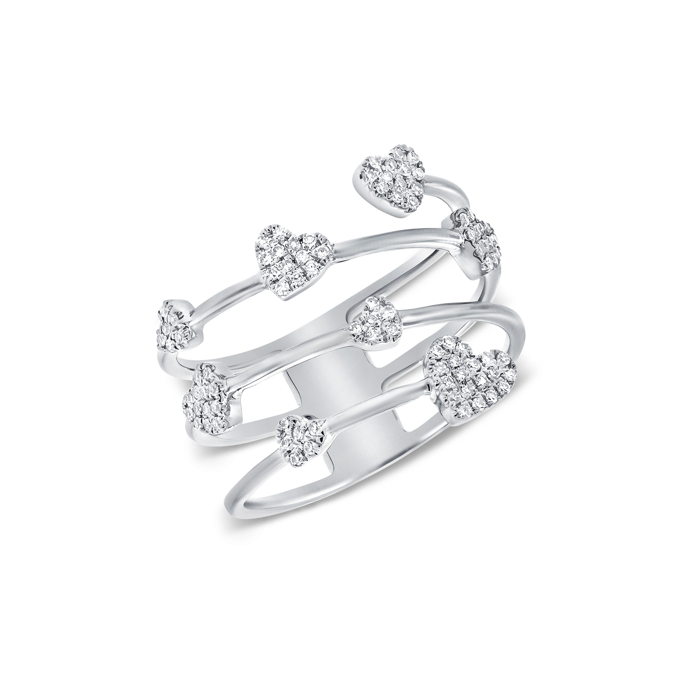 floating hearts ring - diamonds & white gold