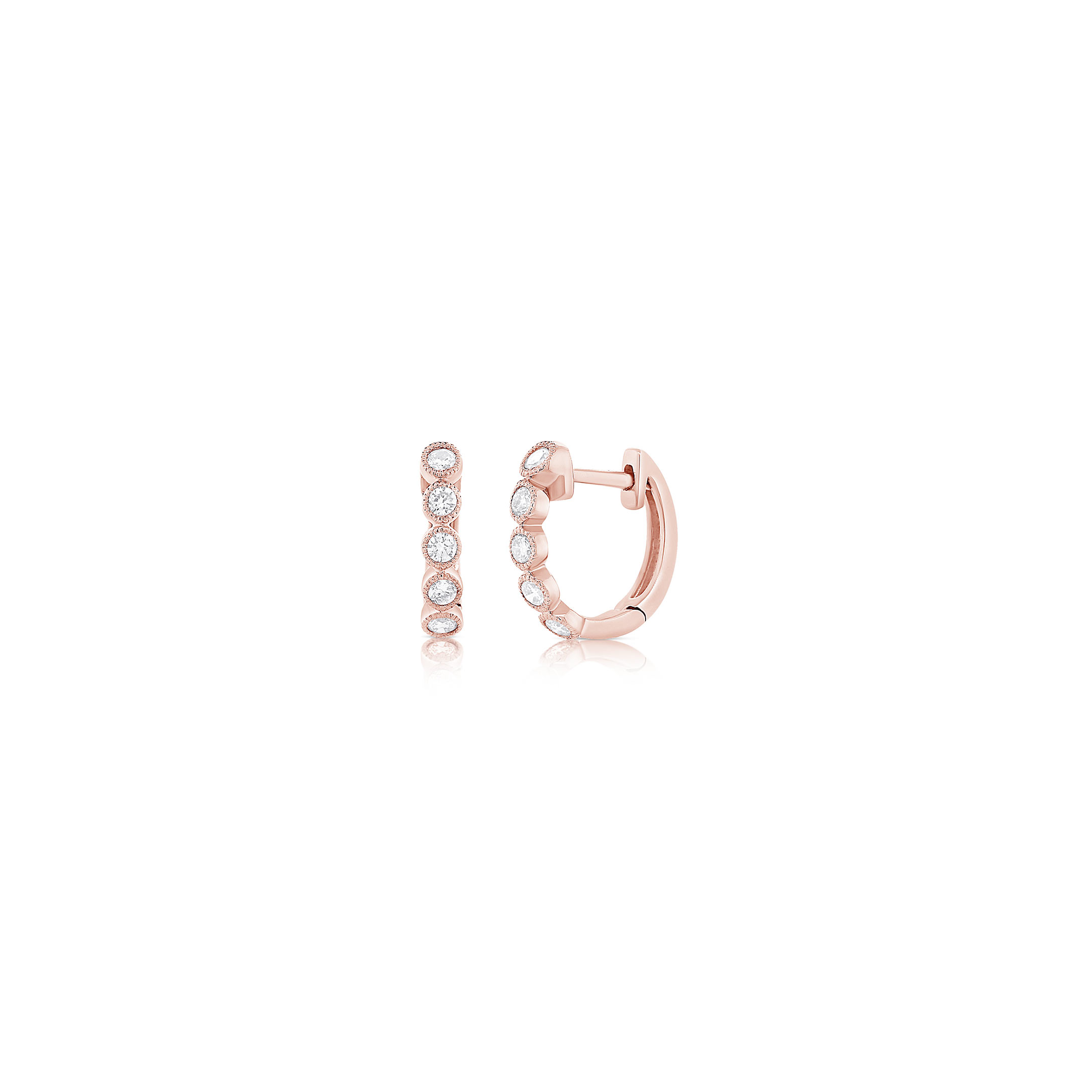Pink Gold Huggie Earrings - 14k & Diamonds