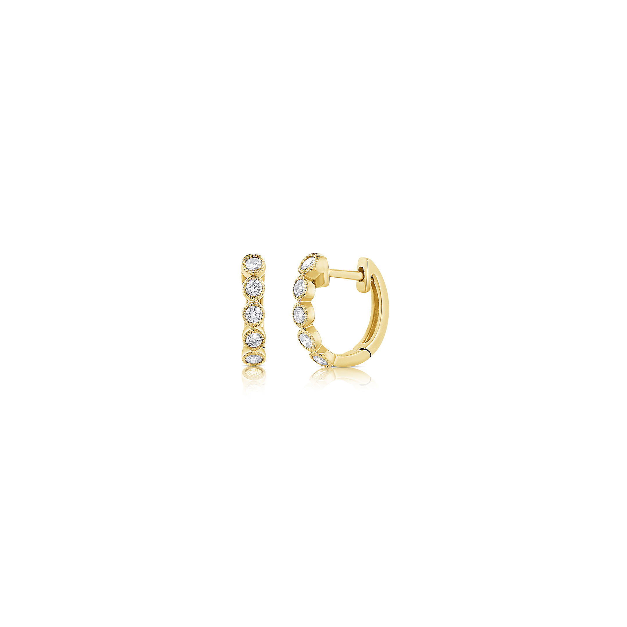 Huggie Earrings - 14k Yellow & 5 Round Diamonds