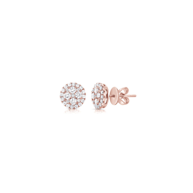 Pink Gold Diamond Cluster Stud Earrings