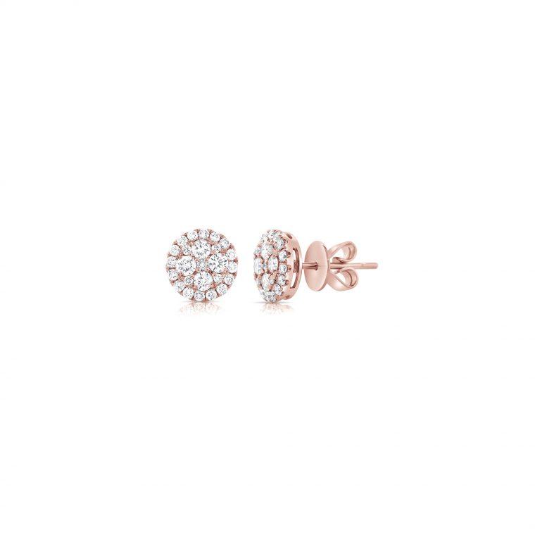 Pink Gold Diamond Cluster Stud Earrings