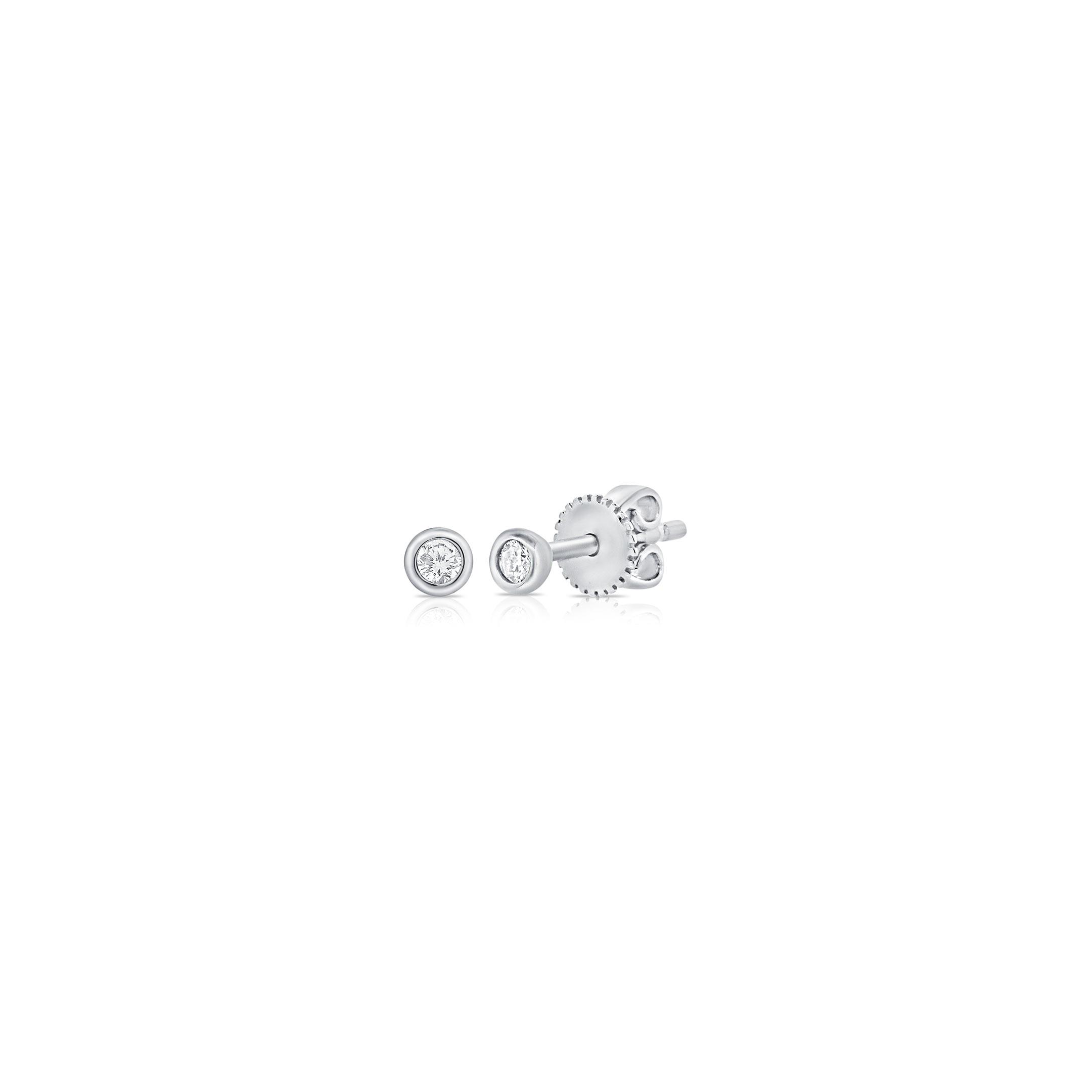 tiny stud earrings - 14k white gold beveled diamond earrings