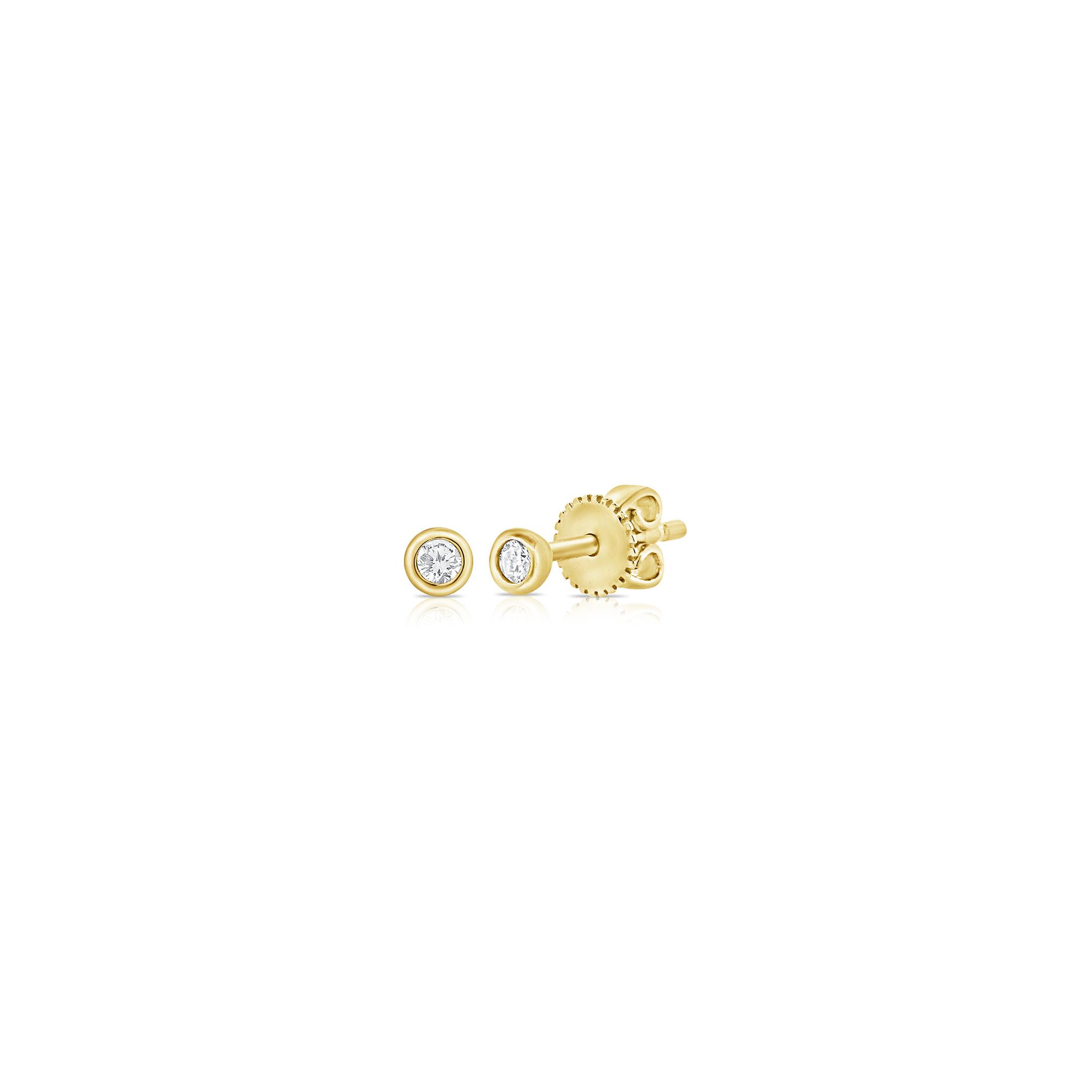 tiny stud earrings - 14k yellow gold beveled diamond earrings